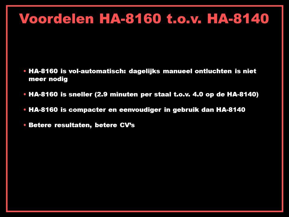 Voordelen HA-8160 t.o.v. HA-8140 HA-8160 is vol-automatisch: dagelijks manueel ontluchten is niet. meer nodig.