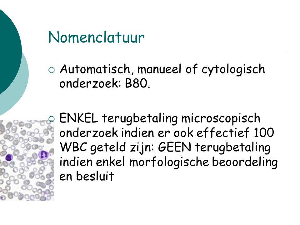 Nomenclatuur Automatisch, manueel of cytologisch onderzoek: B80.