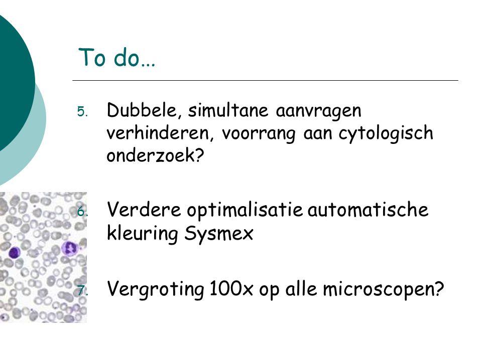 To do… Verdere optimalisatie automatische kleuring Sysmex