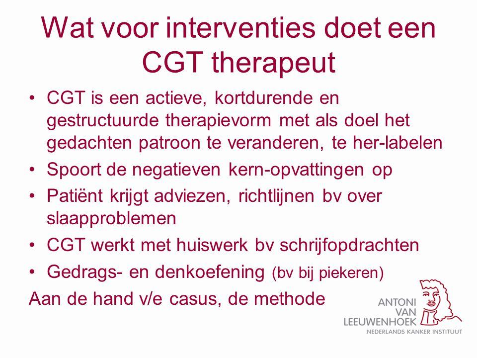 Wat voor interventies doet een CGT therapeut