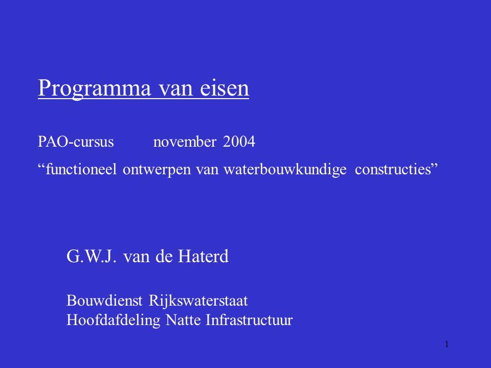 Programma van eisen G.W.J. van de Haterd PAO-cursus november 2004