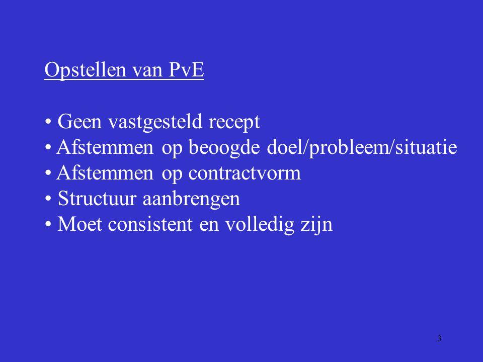 Opstellen van PvE Geen vastgesteld recept. Afstemmen op beoogde doel/probleem/situatie. Afstemmen op contractvorm.