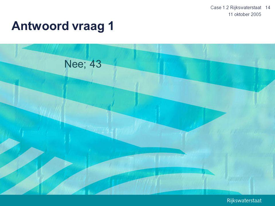 Case 1.2 Rijkswaterstaat Antwoord vraag 1 11 oktober 2005 Nee; 43