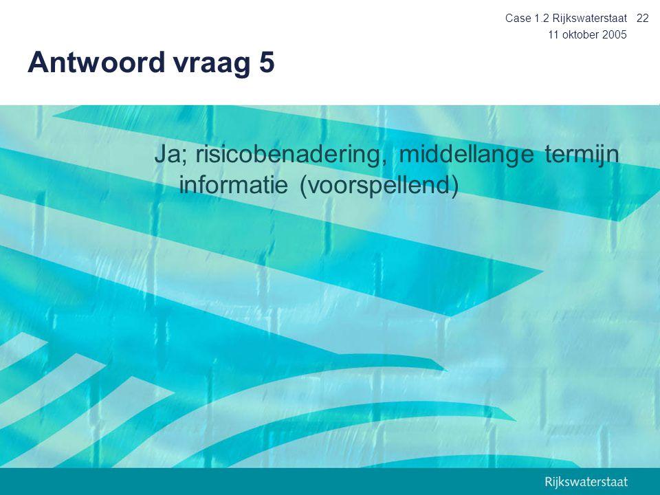 Case 1.2 Rijkswaterstaat Antwoord vraag 5. 11 oktober 2005.