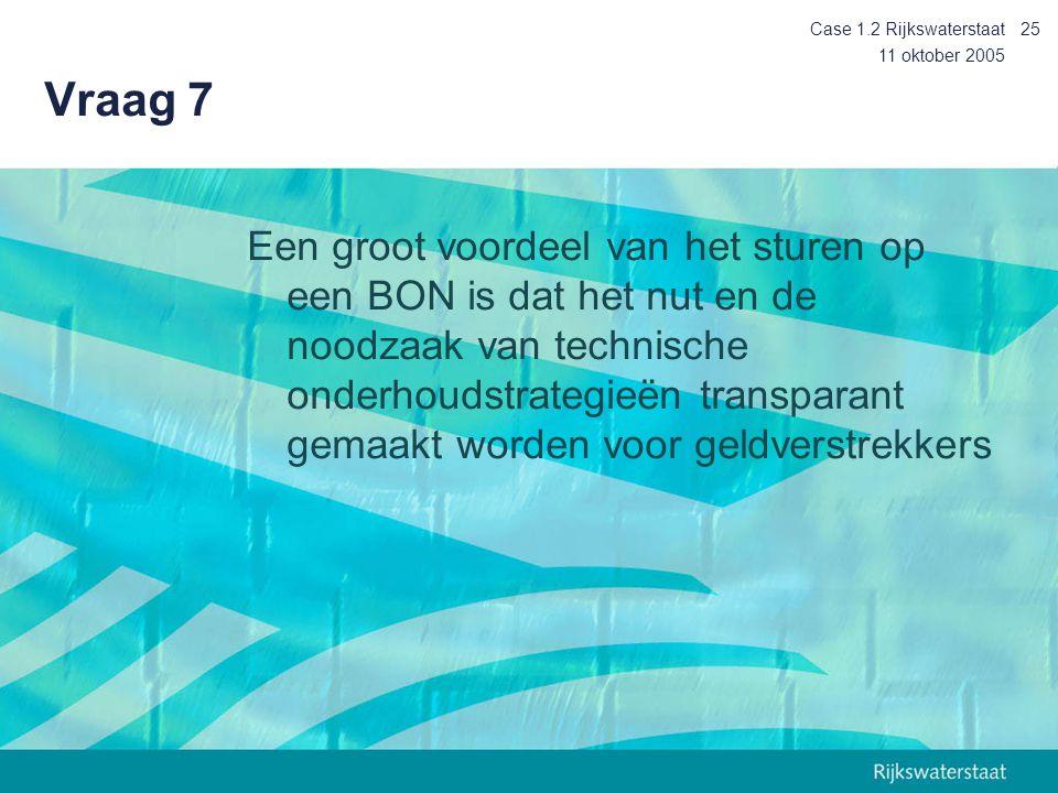 Case 1.2 Rijkswaterstaat Vraag 7. 11 oktober 2005.