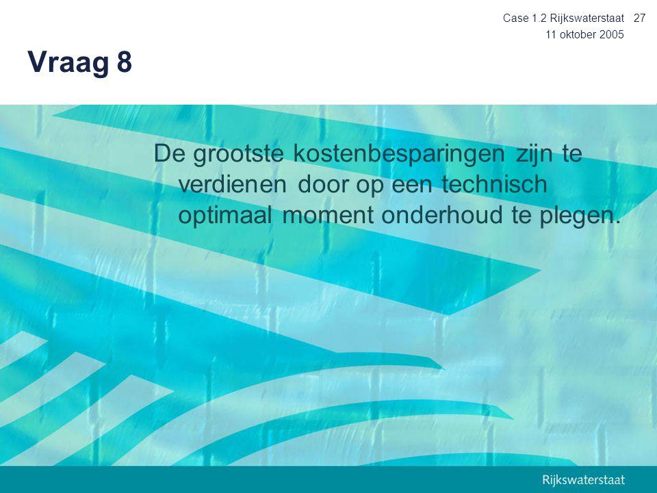 Case 1.2 Rijkswaterstaat Vraag 8. 11 oktober 2005.