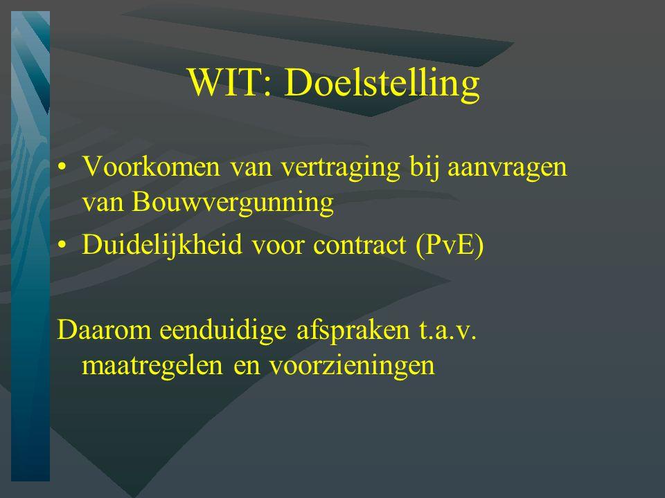 WIT: Doelstelling Voorkomen van vertraging bij aanvragen van Bouwvergunning. Duidelijkheid voor contract (PvE)