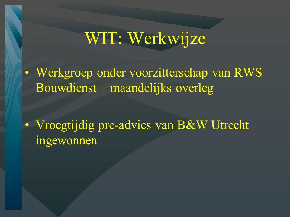 WIT: Werkwijze Werkgroep onder voorzitterschap van RWS Bouwdienst – maandelijks overleg.
