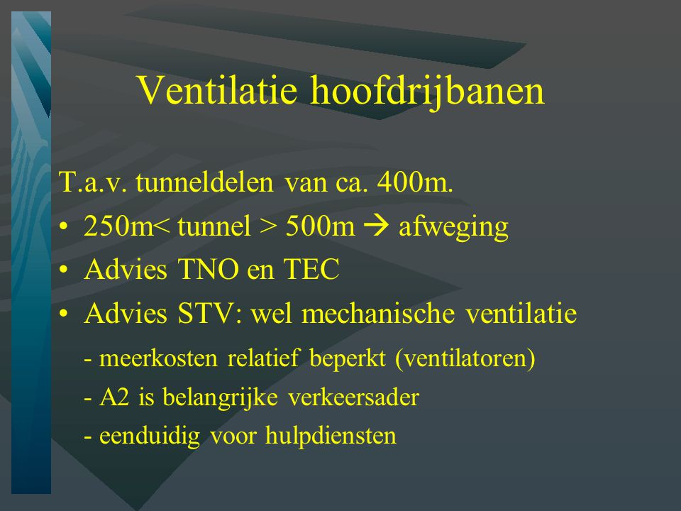 Ventilatie hoofdrijbanen