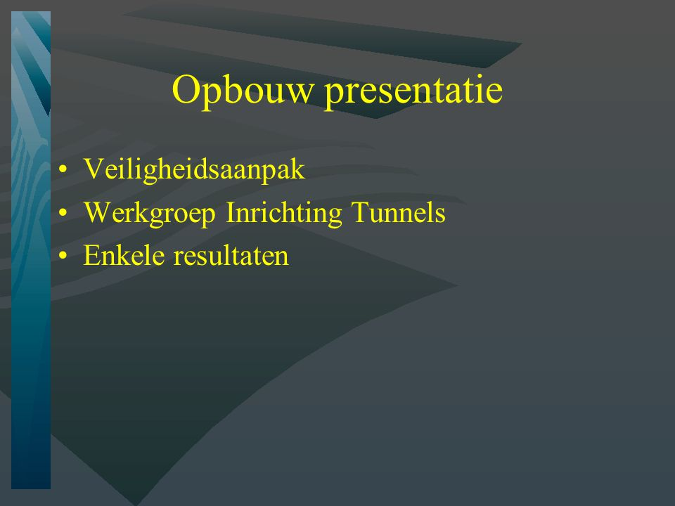 Opbouw presentatie Veiligheidsaanpak Werkgroep Inrichting Tunnels