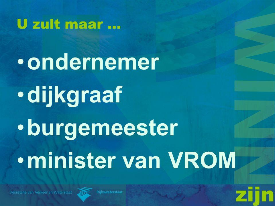 U zult maar … ondernemer dijkgraaf burgemeester minister van VROM zijn
