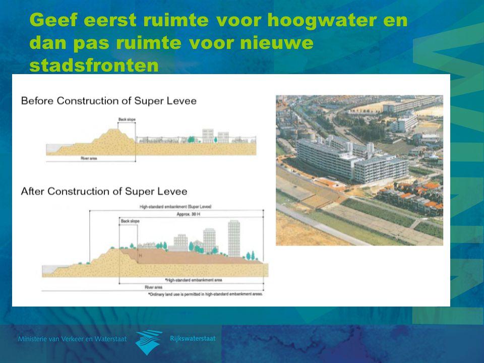 Geef eerst ruimte voor hoogwater en dan pas ruimte voor nieuwe stadsfronten