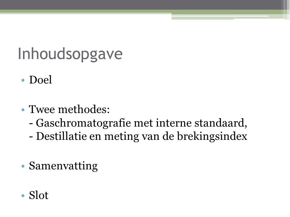 Inhoudsopgave Doel. Twee methodes: - Gaschromatografie met interne standaard, - Destillatie en meting van de brekingsindex.