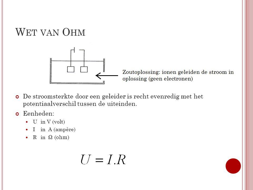 Wet van Ohm De stroomsterkte door een geleider is recht evenredig met het potentiaalverschil tussen de uiteinden.