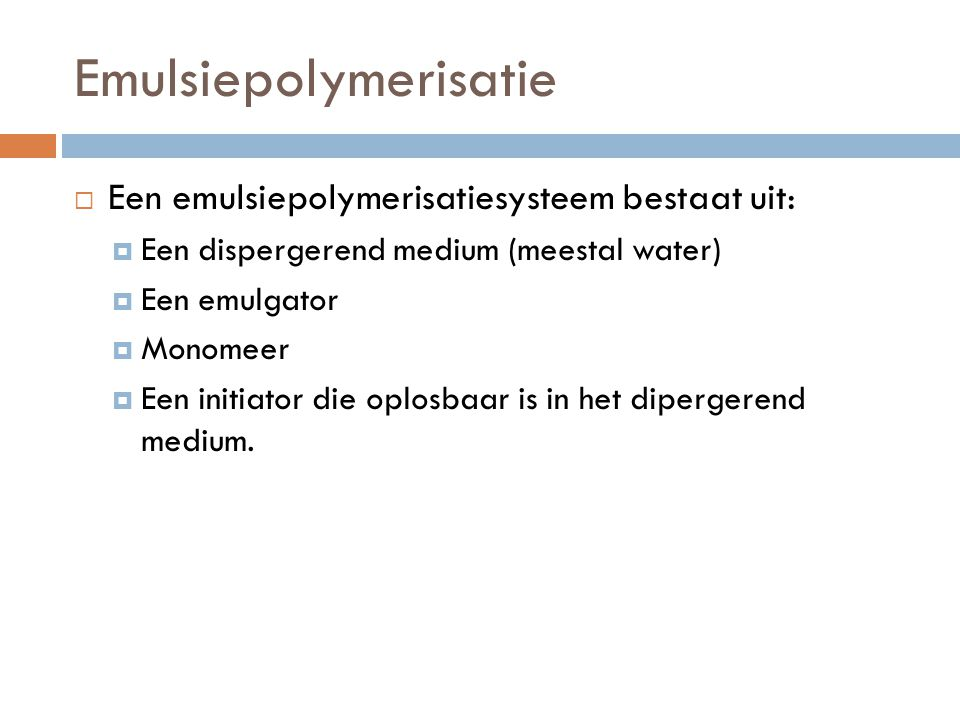 Emulsiepolymerisatie