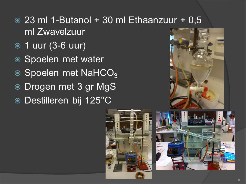 23 ml 1-Butanol + 30 ml Ethaanzuur + 0,5 ml Zwavelzuur