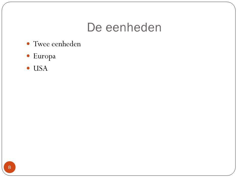 De eenheden Twee eenheden Europa USA
