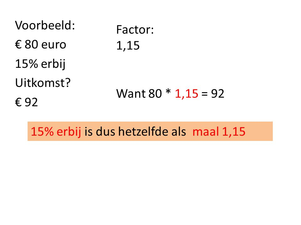 Voorbeeld: € 80 euro 15% erbij Uitkomst € 92