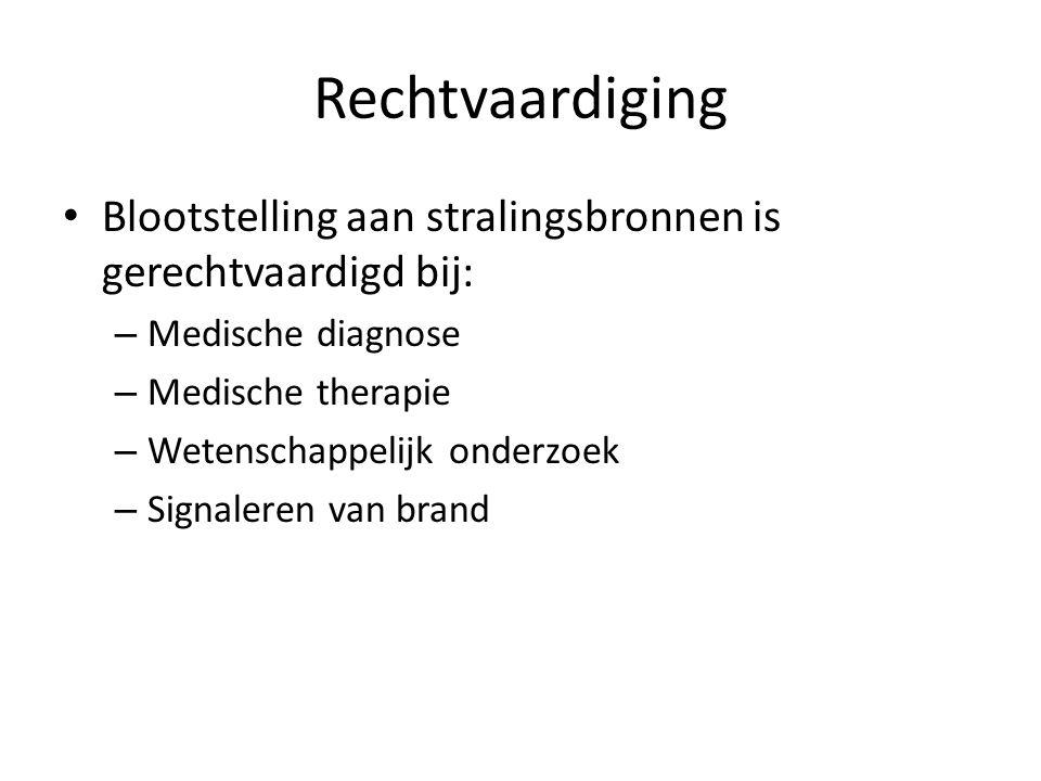 Rechtvaardiging Blootstelling aan stralingsbronnen is gerechtvaardigd bij: Medische diagnose. Medische therapie.