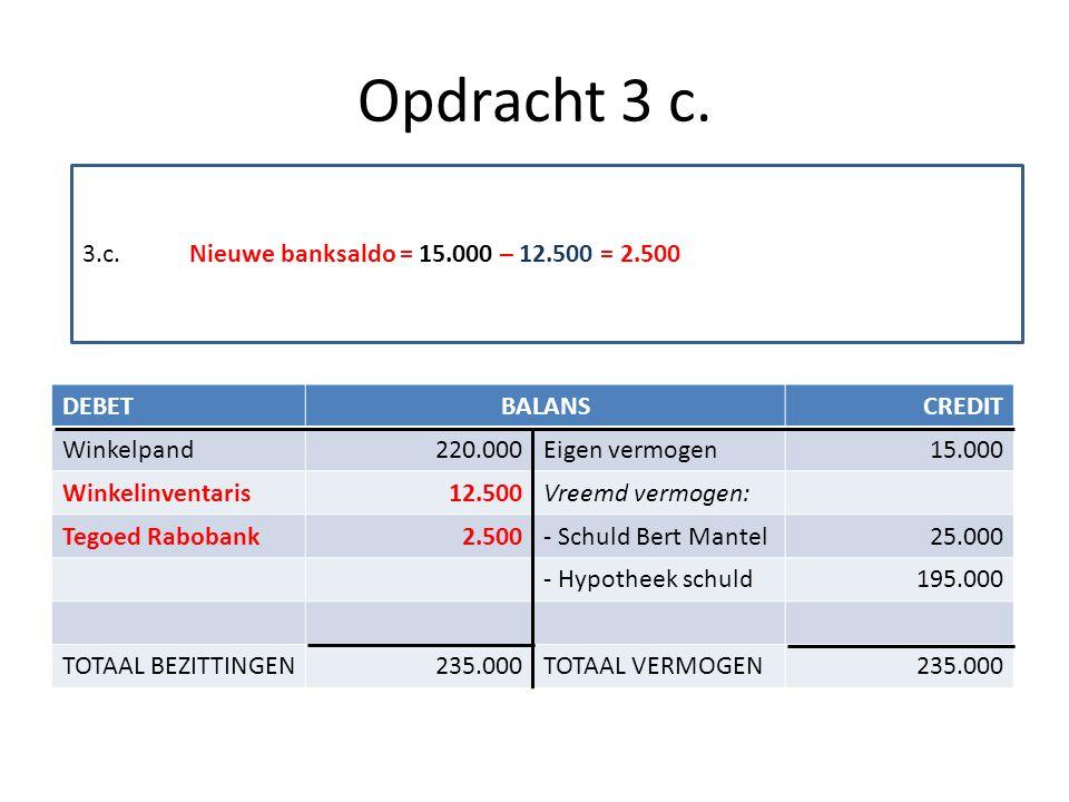 Opdracht 3 c. 3.c. Nieuwe banksaldo = 15.000 – 12.500 = 2.500 DEBET