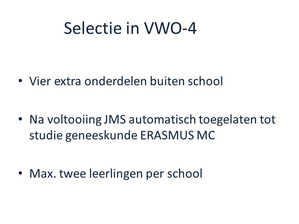 Selectie in VWO-4 Vier extra onderdelen buiten school