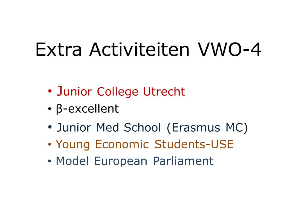Extra Activiteiten VWO-4