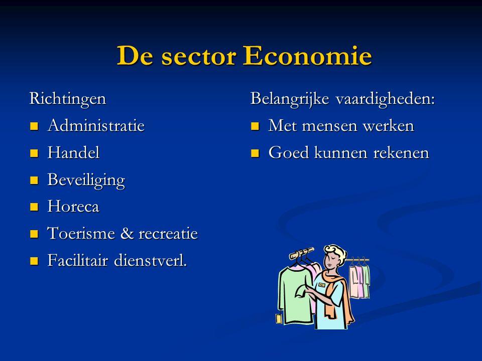 De sector Economie Richtingen Administratie Handel Beveiliging Horeca