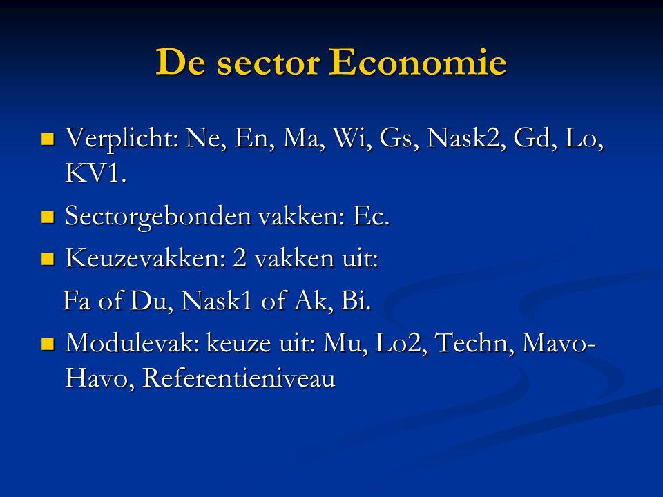 De sector Economie Verplicht: Ne, En, Ma, Wi, Gs, Nask2, Gd, Lo, KV1.