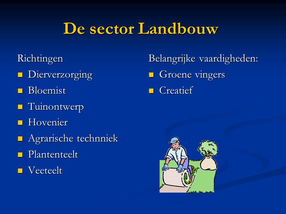 De sector Landbouw Richtingen Dierverzorging Bloemist Tuinontwerp