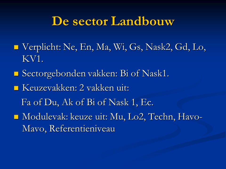 De sector Landbouw Verplicht: Ne, En, Ma, Wi, Gs, Nask2, Gd, Lo, KV1.