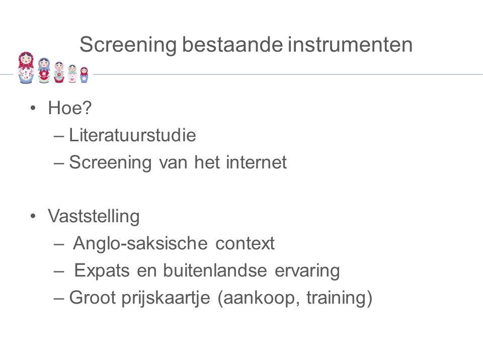 Screening bestaande instrumenten