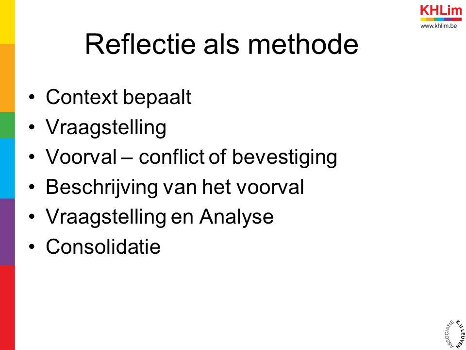 Reflectie als methode Context bepaalt Vraagstelling