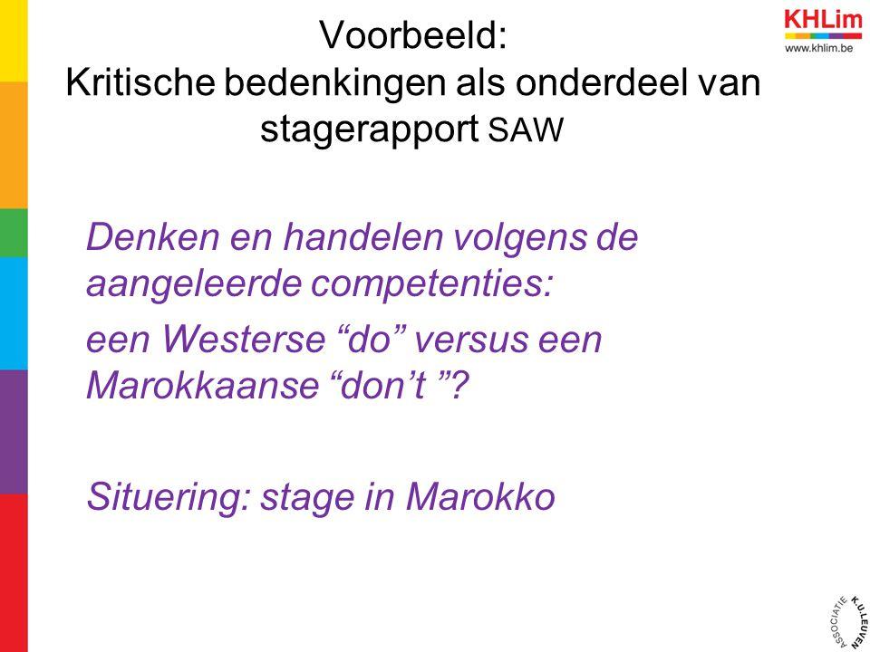 Voorbeeld: Kritische bedenkingen als onderdeel van stagerapport SAW