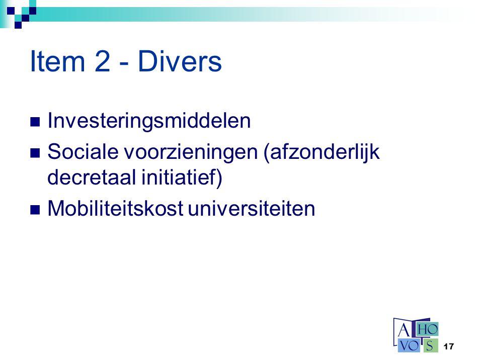 Item 2 - Divers Investeringsmiddelen