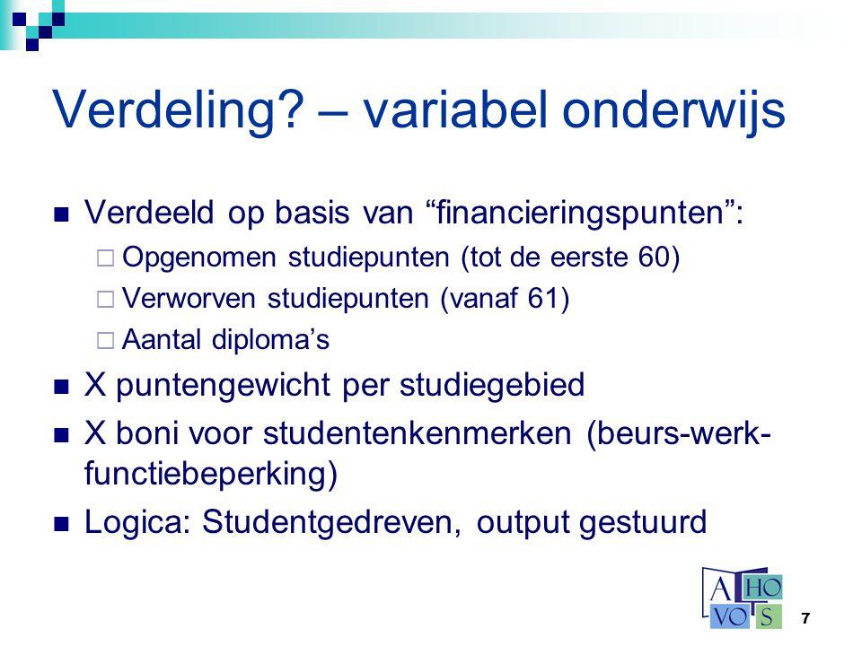 Verdeling – variabel onderwijs