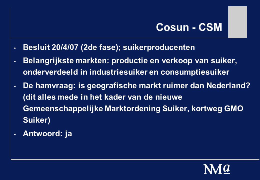 Cosun - CSM Besluit 20/4/07 (2de fase); suikerproducenten