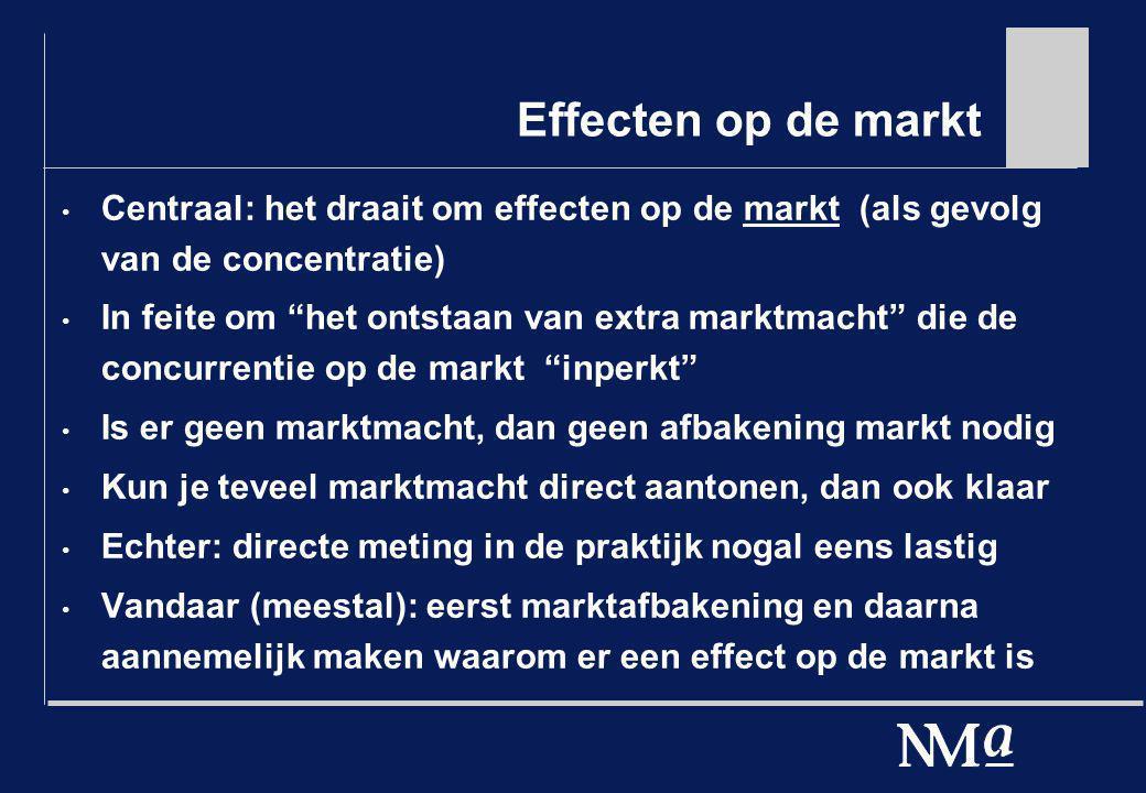 Effecten op de markt Centraal: het draait om effecten op de markt (als gevolg van de concentratie)