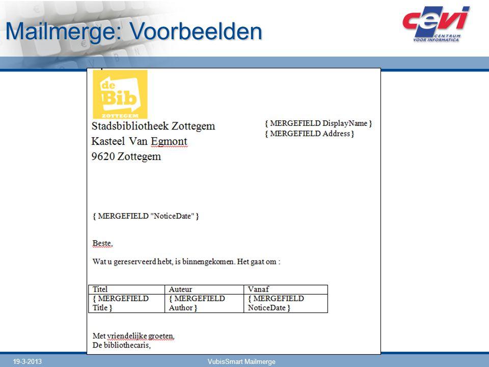 Mailmerge: Voorbeelden