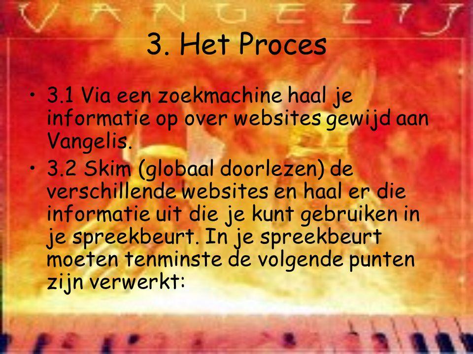 3. Het Proces 3.1 Via een zoekmachine haal je informatie op over websites gewijd aan Vangelis.