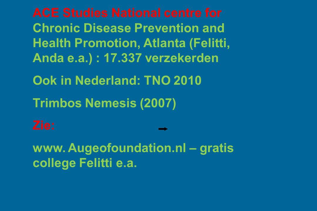 ACE Studies National centre for Chronic Disease Prevention and Health Promotion, Atlanta (Felitti, Anda e.a.) : 17.337 verzekerden