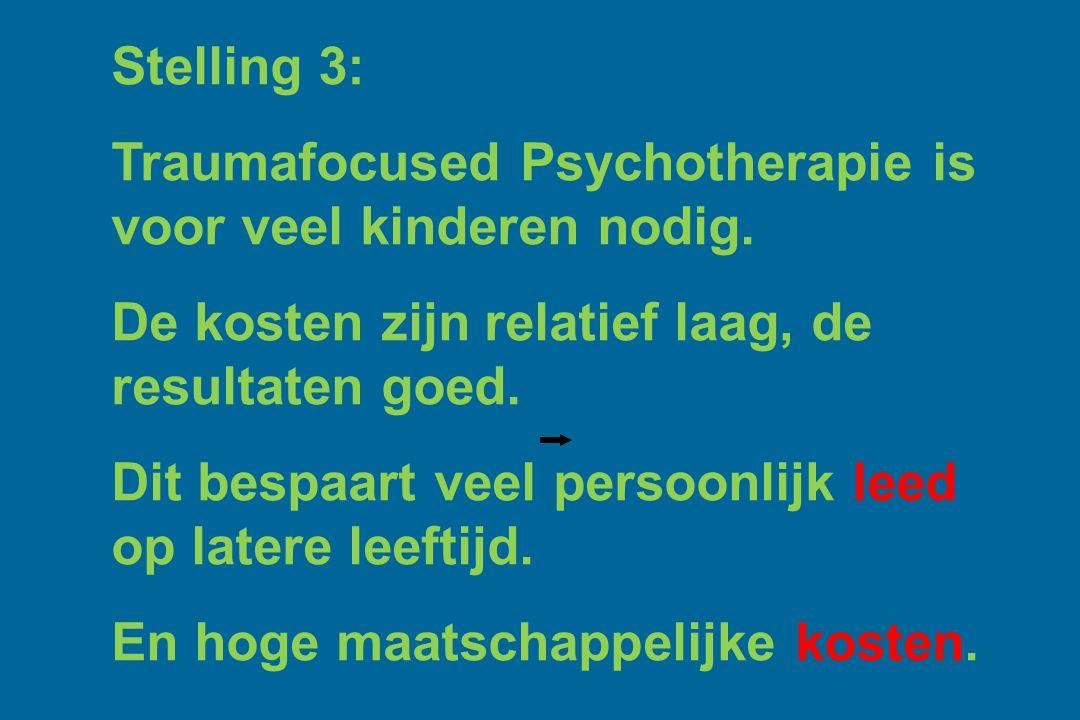 Stelling 3: Traumafocused Psychotherapie is voor veel kinderen nodig. De kosten zijn relatief laag, de resultaten goed.