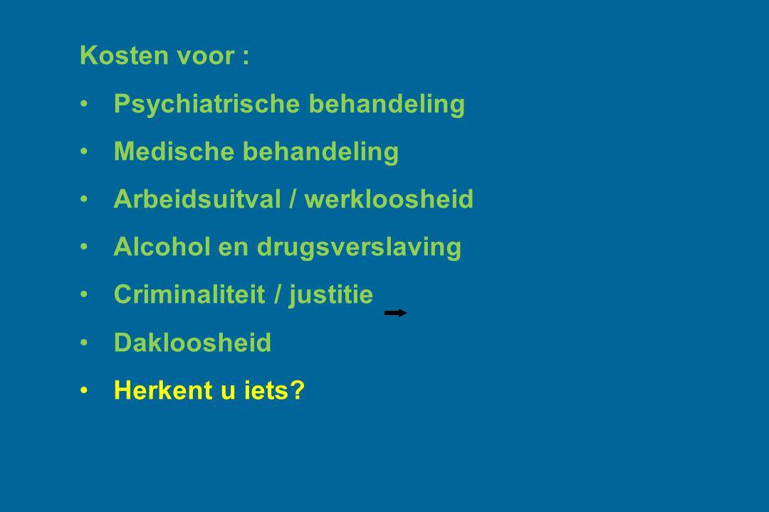 Kosten voor : Psychiatrische behandeling. Medische behandeling. Arbeidsuitval / werkloosheid. Alcohol en drugsverslaving.