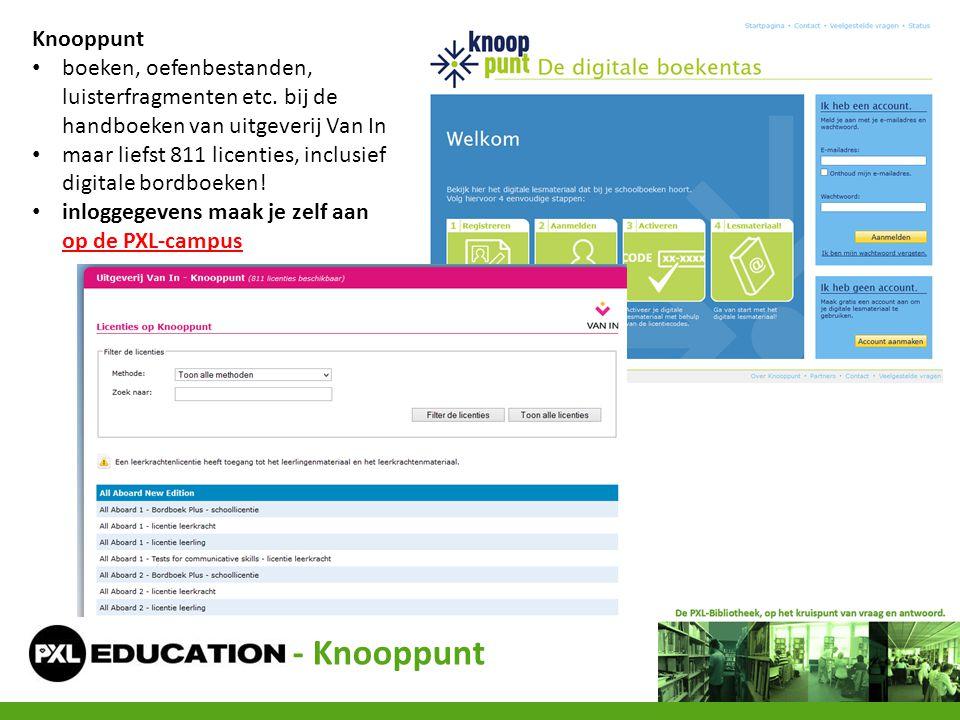 Knooppunt boeken, oefenbestanden, luisterfragmenten etc. bij de handboeken van uitgeverij Van In.