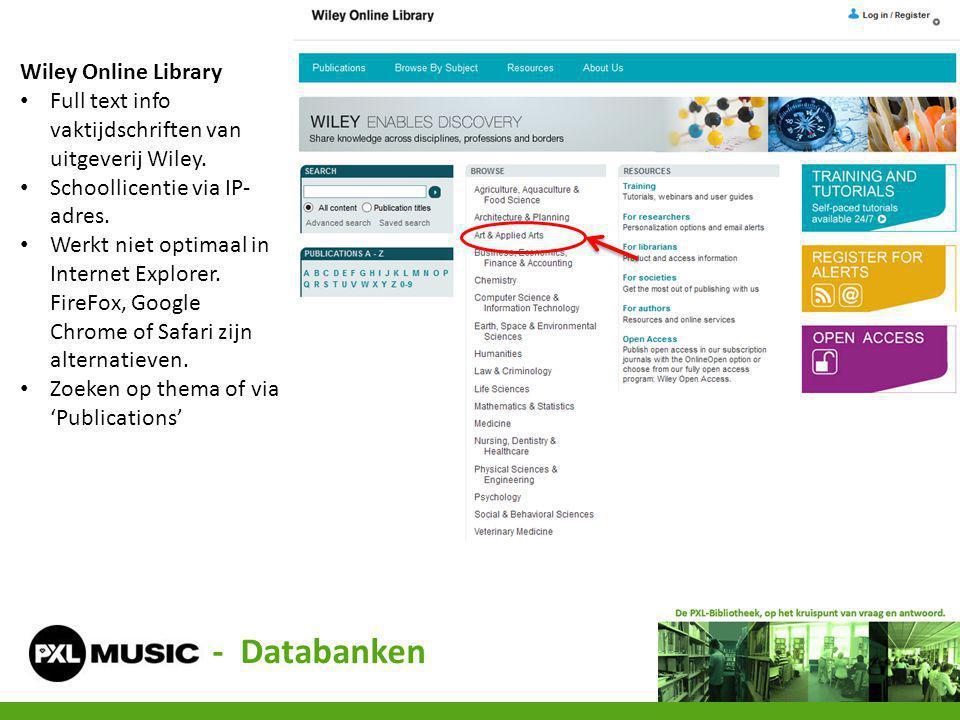 - Databanken Wiley Online Library