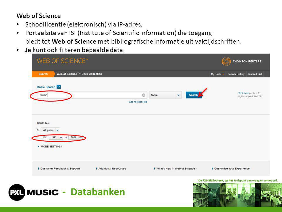 - Databanken Web of Science