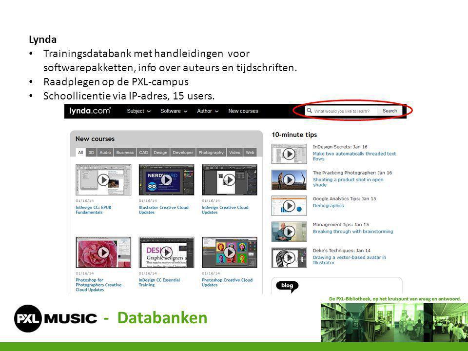 Lynda Trainingsdatabank met handleidingen voor softwarepakketten, info over auteurs en tijdschriften.