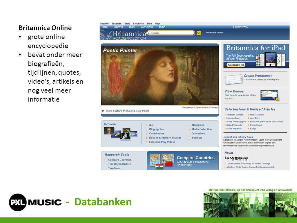 - Databanken Britannica Online grote online encyclopedie