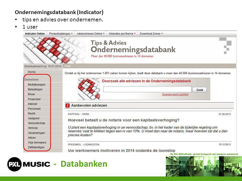 - Databanken Ondernemingsdatabank (Indicator)