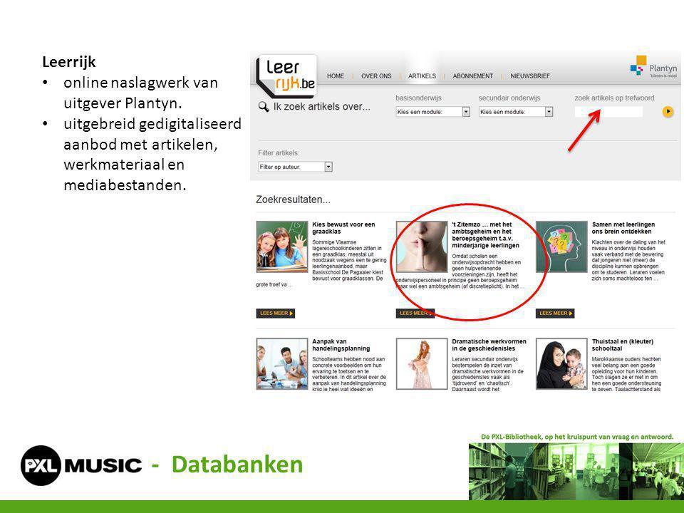 - Databanken Leerrijk online naslagwerk van uitgever Plantyn.