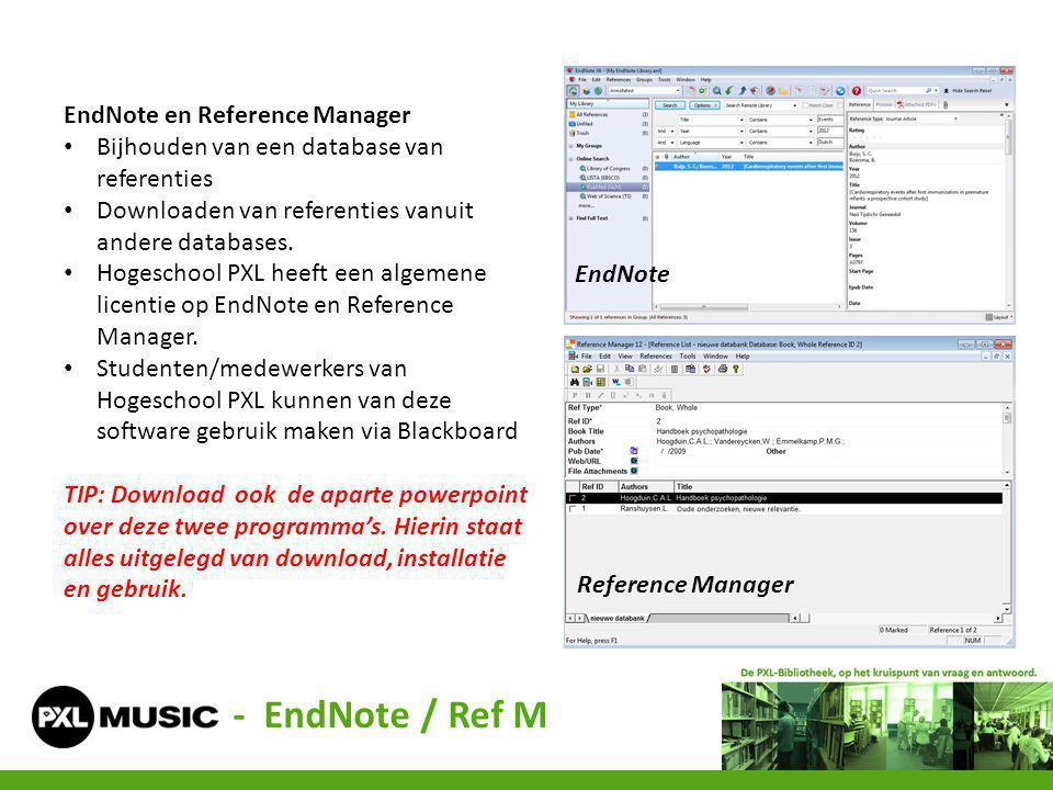 - EndNote / Ref M EndNote en Reference Manager